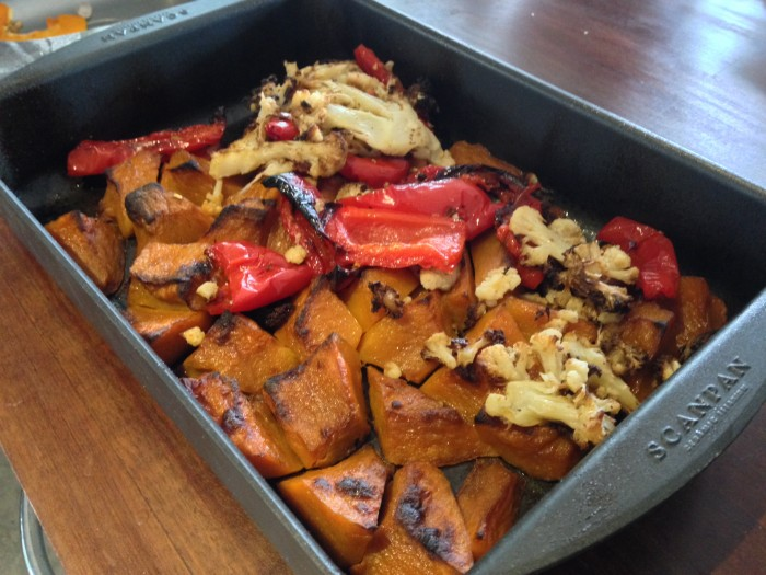 food waste and some roasted vegetables