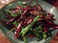 greens, chillis and mock meat