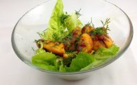 grilled peach and chilli jam salad