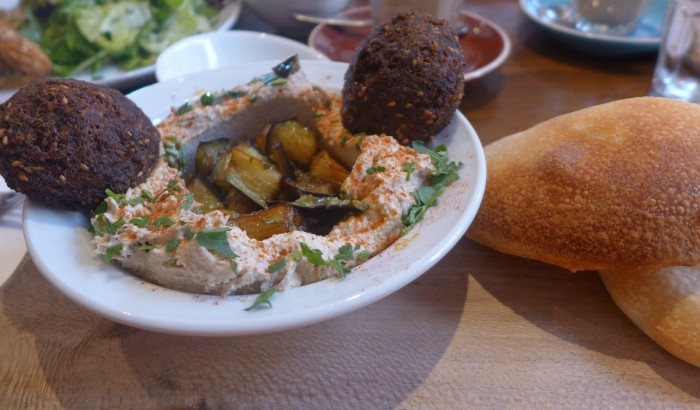 hummus plate with eggplant