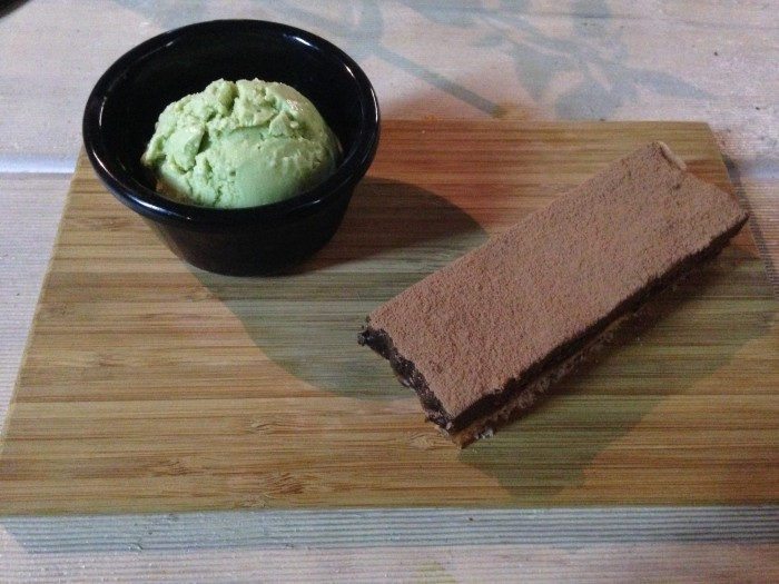 chocolate tart and avocado icecream