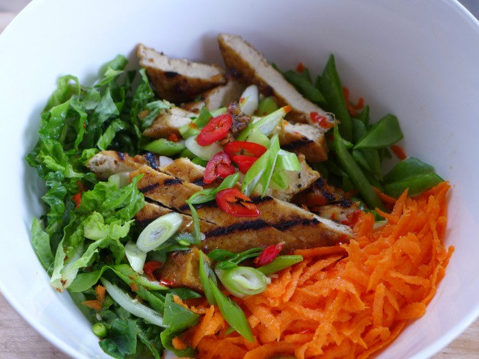 vietnamese rice vermicelli salad with grilled tofu
