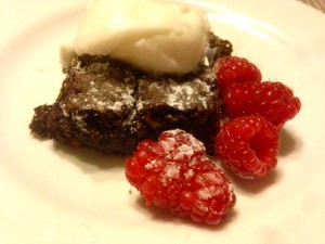 brownies with raspberries and coconut yoghurt