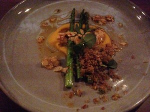 asparagus, truffled fava bean puree, almonds and walnut crumb