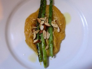 grilled asparagus with truffled fava and almonds