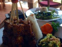 tempeh satay with beans, bean shoot and fresh coconut salad
