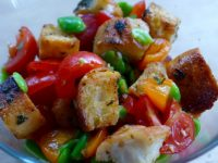 tomatoes, broad beans, croutons