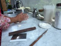 pressing the dough