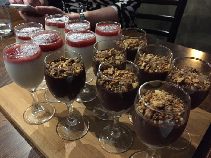 panna cotta and choc hazelnut desserts