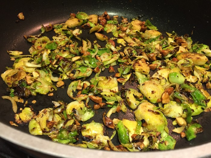 blackened brussels sprouts, garlic and almonds