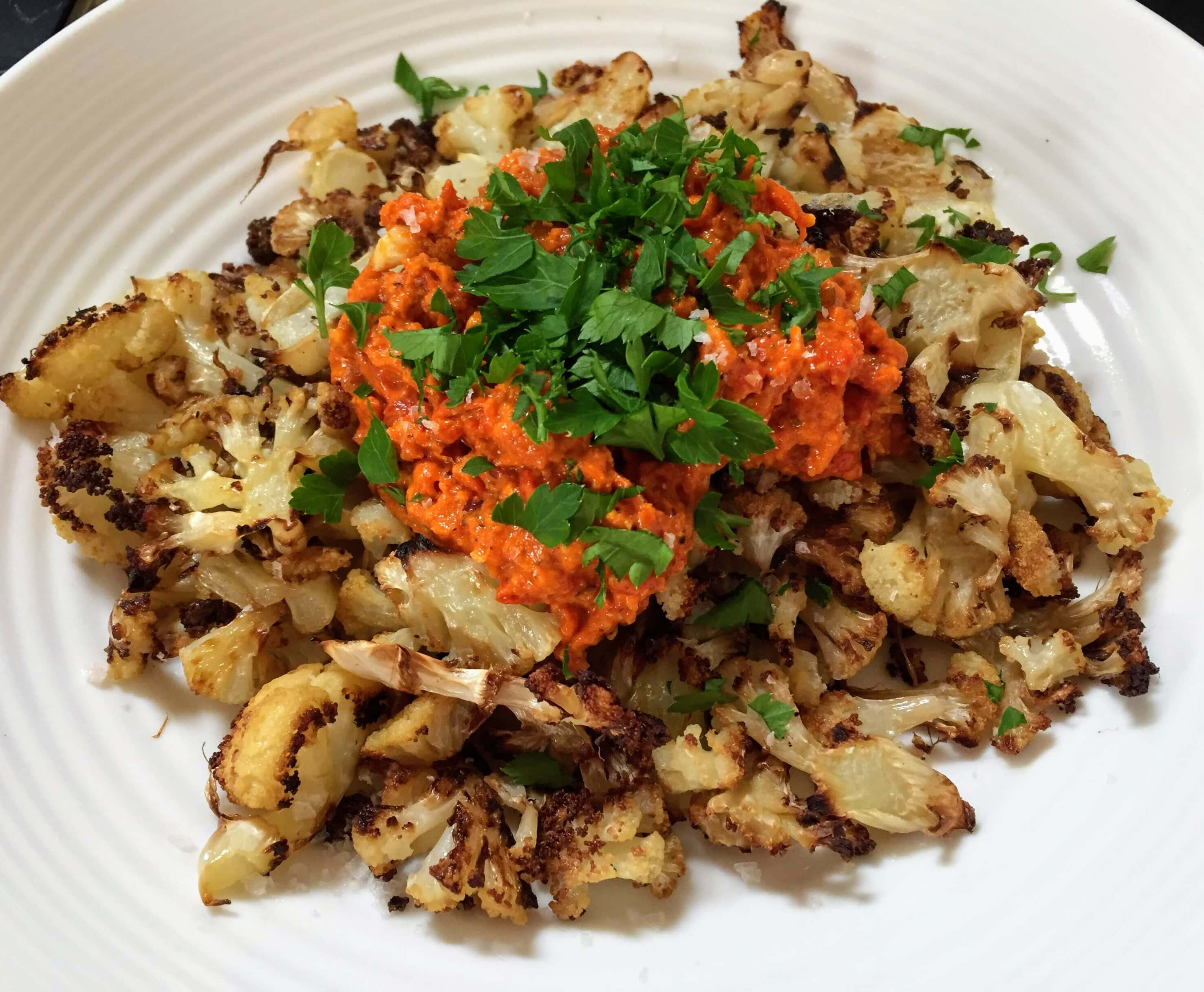 roasted cauliflower with romesco sauce